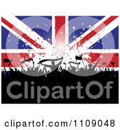 Clipart Cheering Silhouetted Crowd With Banners And Flags Against A Union Jack Banner With Stars Royalty Free Vector Illustration