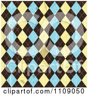 Clipart Grungy Seamless Beige Brown And Blue Argyle Pattern With Stains Royalty Free Vector Illustration