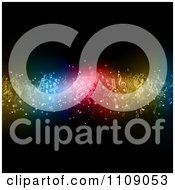Clipart Wave Of Floating Music Notes And Colorful Lights On Black Royalty Free Vector Illustration by KJ Pargeter