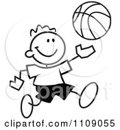 Clipart Black And White Sticker Basketball Player Boy Royalty Free Vector Illustration by Johnny Sajem