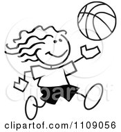 Clipart Black And White Sticker Basketball Player Girl Royalty Free Vector Illustration by Johnny Sajem