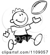 Clipart Black And White Sticker Football Player Boy Royalty Free Vector Illustration by Johnny Sajem