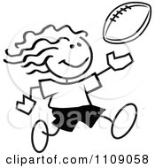 Clipart Black And White Sticker Football Player Girl Royalty Free Vector Illustration by Johnny Sajem