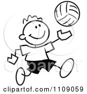 Clipart Black And White Sticker Volleyball Player Boy Royalty Free Vector Illustration