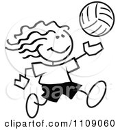 Clipart Black And White Sticker Volleyball Player Girl Royalty Free Vector Illustration
