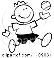 Clipart Black And White Sticker Baseball Player Boy Royalty Free Vector Illustration by Johnny Sajem