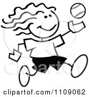 Clipart Black And White Sticker Baseball Player Girl Royalty Free Vector Illustration