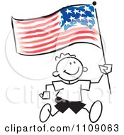 Clipart Sticker Boy Running With An American Flag Royalty Free Vector Illustration by Johnny Sajem
