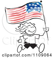 Clipart Sticker Girl Running With An American Flag Royalty Free Vector Illustration by Johnny Sajem