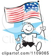 Clipart Sticker Boy Running With An American Flag Over A Blue Star Royalty Free Vector Illustration by Johnny Sajem