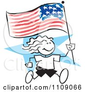 Clipart Sticker Girl Running With An American Flag Over A Blue Star Royalty Free Vector Illustration by Johnny Sajem