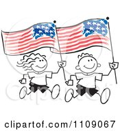 Sticker Kids Running With American Flags