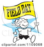 Clipart Sticker Girl Running With A Field Day Flag Over A Blue Star Royalty Free Vector Illustration