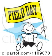 Clipart Sticker Boy Running With A Field Day Flag Over A Blue Star Royalty Free Vector Illustration