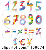 Colorful Numbers Currency And Math Symbols