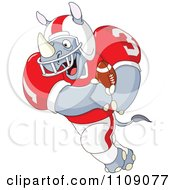 Clipart American Football Rhino Running Royalty Free Vector Illustration by yayayoyo