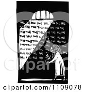 Clipart Prisoner Counting His Days In His Cell Black And White Woodcut Royalty Free Vector Illustration