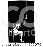 Clipart Man Being Tortured And Tied To A Chair Black And White Woodcut Royalty Free Vector Illustration