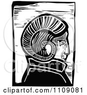 Clipart Ram Horn Headed Man Black And White Woodcut Royalty Free Vector Illustration by xunantunich