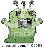 Clipart Ugly Angry Green Alien Royalty Free Vector Illustration