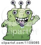 Ugly Green Alien Waving
