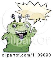 Clipart Ugly Green Alien Talking Royalty Free Vector Illustration