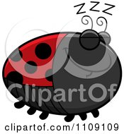 Clipart Chubby Sleeping Ladybug Royalty Free Vector Illustration by Cory Thoman