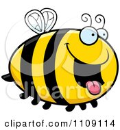 Clipart Chubby Hungry Bee Royalty Free Vector Illustration