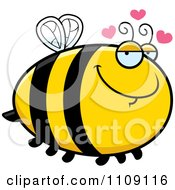 Clipart Chubby Amorous Bee Royalty Free Vector Illustration