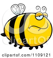 Clipart Chubby Depressed Bee Royalty Free Vector Illustration