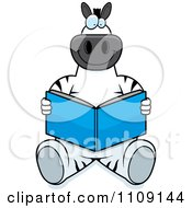 Clipart Zebra Sitting And Reading Royalty Free Vector Illustration by Cory Thoman