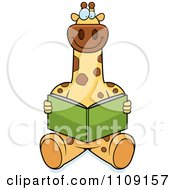 Clipart Giraffe Sitting And Reading Royalty Free Vector Illustration by Cory Thoman