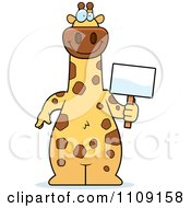 Clipart Giraffe Holding A Sign Royalty Free Vector Illustration by Cory Thoman