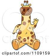 Clipart Giraffe Sitting And Waving Royalty Free Vector Illustration by Cory Thoman