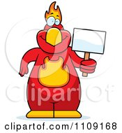 Clipart Phoenix Bird Holding A Sign Royalty Free Vector Illustration