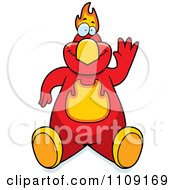Clipart Phoenix Bird Sitting And Waving Royalty Free Vector Illustration