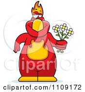 Clipart Phoenix Bird Holding Flowers Royalty Free Vector Illustration