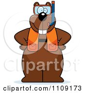 Clipart Gopher In Scuba Gear Royalty Free Vector Illustration
