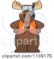 Clipart Moose In Scuba Gear Royalty Free Vector Illustration