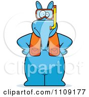 Clipart Aardvark In Scuba Gear Royalty Free Vector Illustration