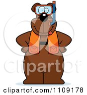 Clipart Bear In Scuba Gear Royalty Free Vector Illustration