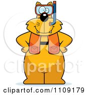 Clipart Cat In Scuba Gear Royalty Free Vector Illustration