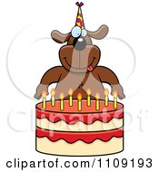 Clipart Dog Making A Wish Over Candles On A Birthday Cake Royalty Free Vector Illustration