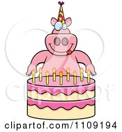 Clipart Pig Making A Wish Over Candles On A Birthday Cake Royalty Free Vector Illustration by Cory Thoman