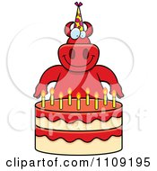 Clipart Devil Making A Wish Over Candles On A Birthday Cake Royalty Free Vector Illustration