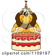 Clipart Lion Making A Wish Over Candles On A Birthday Cake Royalty Free Vector Illustration