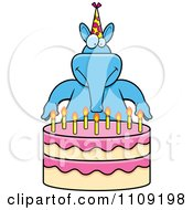 Clipart Blue Aardvark Making A Wish Over Candles On A Birthday Cake Royalty Free Vector Illustration by Cory Thoman