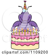 Clipart Purple Bug With A Birthday Cake Royalty Free Vector Illustration by Cory Thoman
