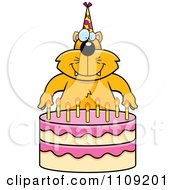 Clipart Cat Making A Wish Over Candles On A Birthday Cake Royalty Free Vector Illustration