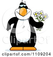 Clipart Amorous Penguin Holding Flowers Royalty Free Vector Illustration